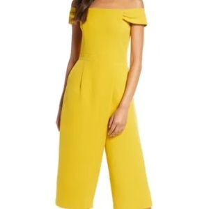 Adelyn Rae Roxanne Off the Shoulder Crop Jumpsuit